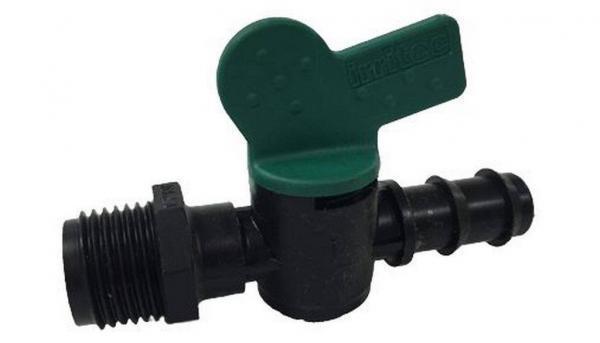 Кран для капельной трубки Ерш-Резьба IRRITEC Green Garth